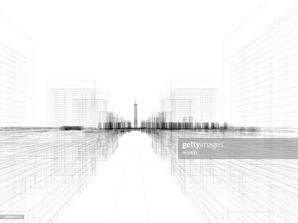 Skyscraper Building Architectural blueprint Wireframe 4