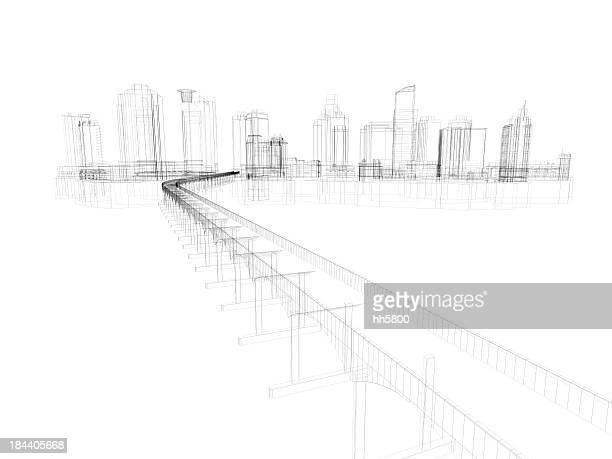 Hochhaus architektonische Blaupause Gitternetzlinien 5