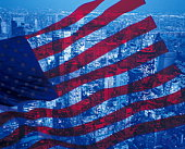 Skyscraper in New York city with image of American flag, computer graphic, long exposure, NY, USA
