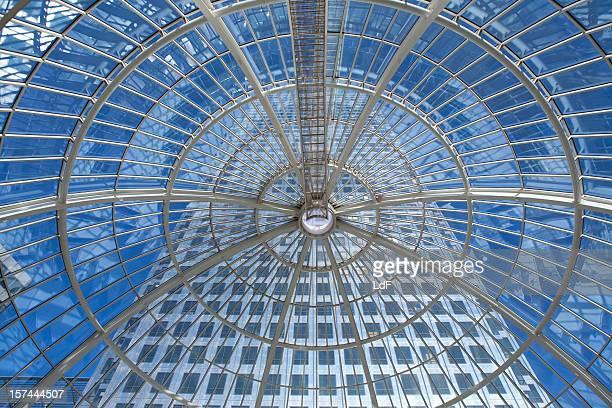 Skyscraper view from a glass dome