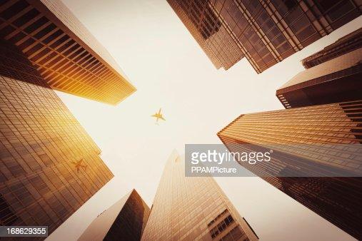 Skyscraper with a airplane silhouette