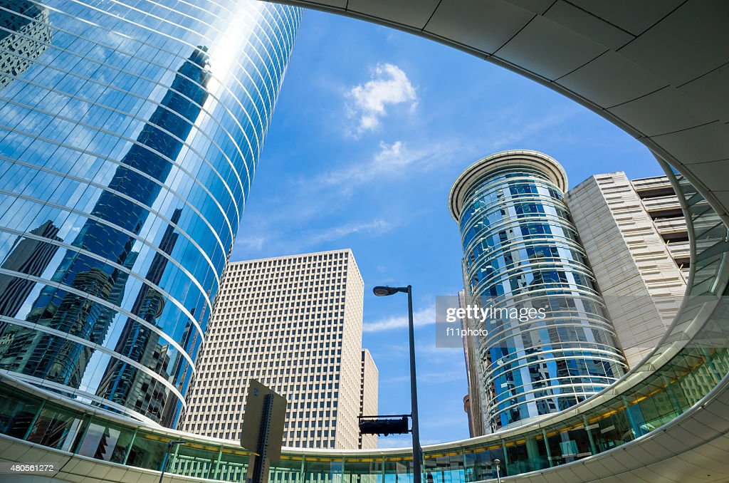 Skyscrapers against blue sky in downtown of Houston, Texas : Stock Photo