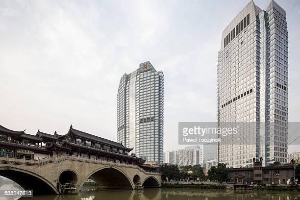 Skyscrapers along Jinjiang River and Anshun Bridge