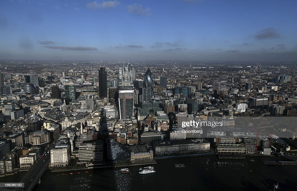 Skyscrapers and office buildings are seen standing on the horizon from 'The View From The Shard', a series of viewing galleries near the top of the Shard tower in London, U.K., on Wednesday, Jan. 9, 2013. The Shard, which stands at 309.6 meters on London's South Bank, is owned by LBQ Ltd., which brings together the State of Qatar (the majority shareholder) and Sellar Property Group Ltd., with non-equity funding by Qatar National Bank. Photographer: Chris Ratcliffe/Bloomberg via Getty Images