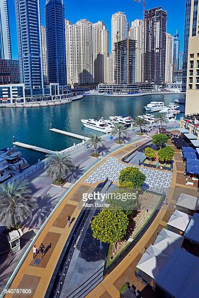 Skyscrapers and walkway at Dubai Marina