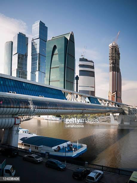 skyscrapers, bridge, river