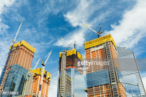 Skyscrapers construction site for modern buildings in New York : Stock Photo