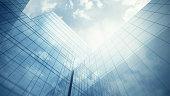 Blue clean glass wall of modern skyscraper
