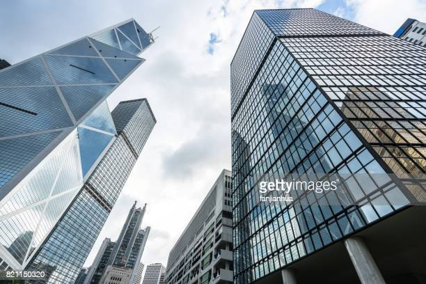 Skyscrapers from a low angle view in Hong Kong