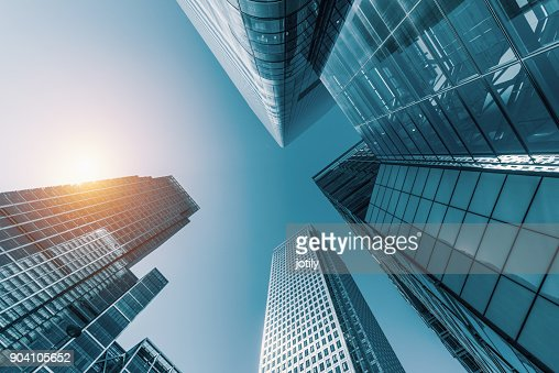skyscrapers in a finance district : Stock Photo