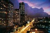 Skyscrapers in the Central Park Complex at night Caracas Venezuela