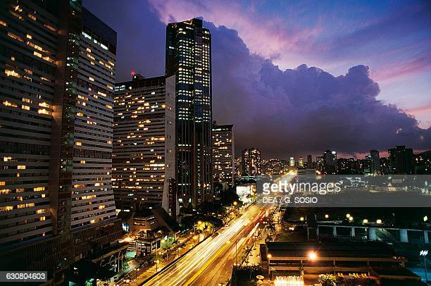 Skyscrapers in the Central Park Complex at night Caracas Venezuela