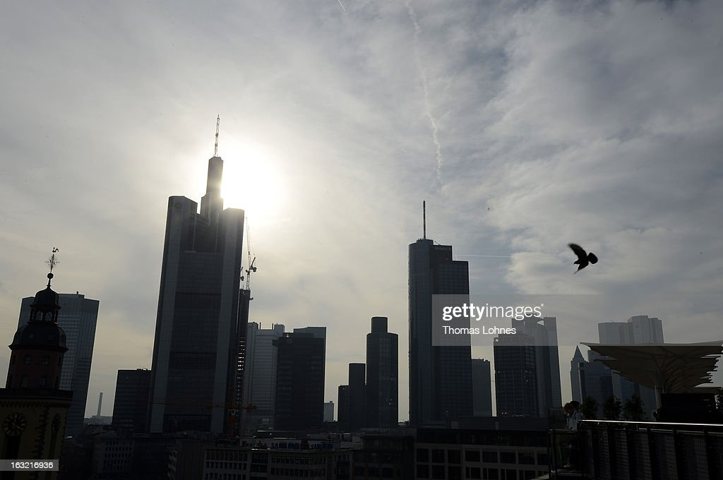 Skyscrapers, many of them belonging to leading European banks, are pictured on March 6, 2013 in Frankfurt am Main, Germany. European finance ministers agreed yesterday to cap bonuses for bankers at no more than their annual salaries.