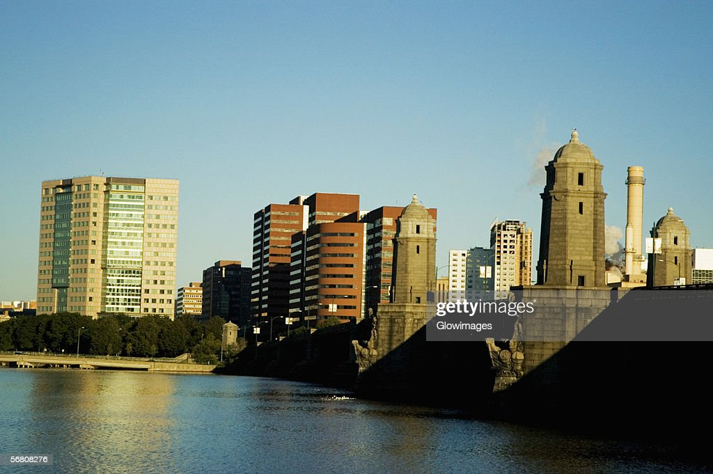 Skyscrapers near a bridge across a river, Longfellow Bridge, Charles River, Cambridge, Boston, Massachusetts, USA
