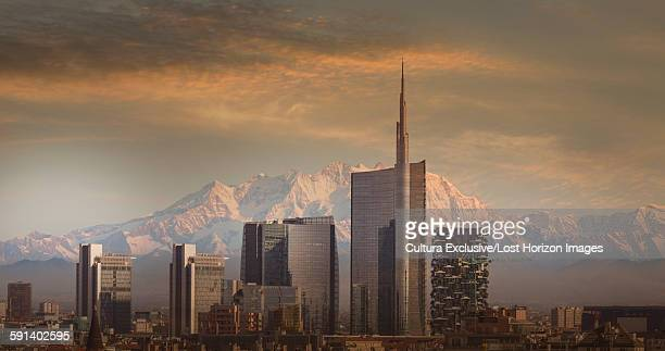 Skyscrapers of downtown Milan in front of Monte Rosa, Italy