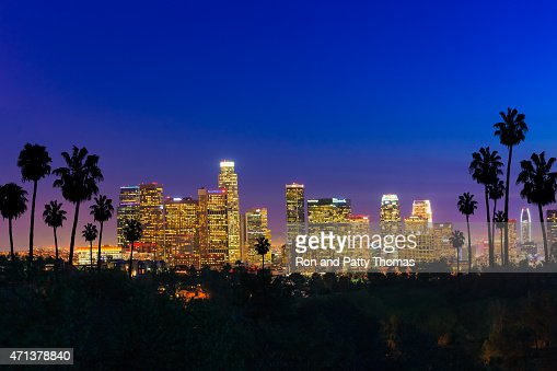 Skyscrapers of Los Angeles skyline sunset,urban sprawl, CA