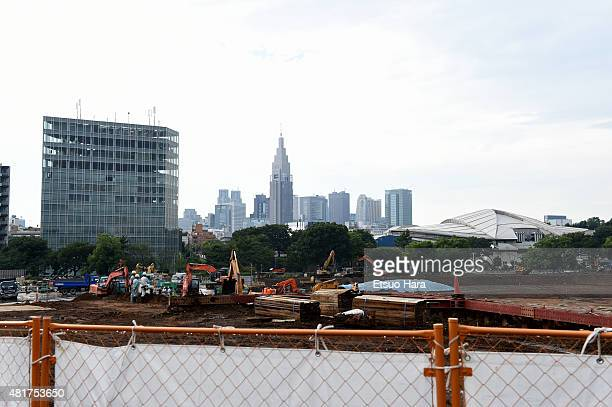 Skyscrapers of Shinjuku area are seen from the new national stadium construction site is seen on the day of five years to go to the 2020 Tokyo...
