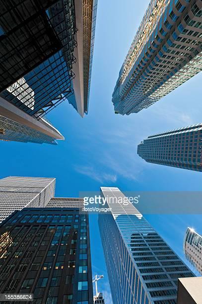 Skyscrapers soaring in blue sky