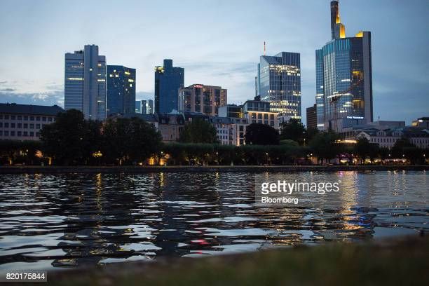 Skyscrapers stand beyond the River Main at dusk in Frankfurt Germany on Wednesday July 19 2017 Frankfurt has emerged as a winner of the Brexit vote...