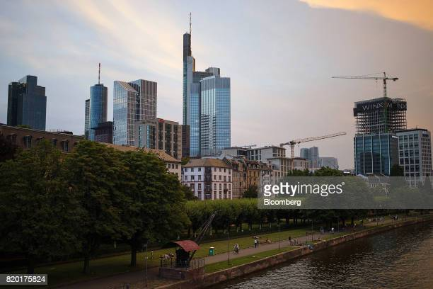 Skyscrapers stand beyond the River Main in Frankfurt Germany on Wednesday July 19 2017 Frankfurt has emerged as a winner of the Brexit vote with...