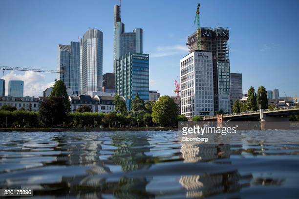 Skyscrapers stand beyond the River Main in Frankfurt Germany on Thursday July 20 2017 Frankfurt has emerged as a winner of the Brexit vote with...