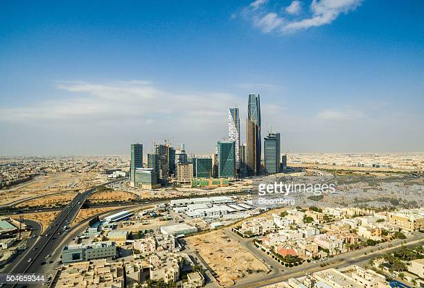 Skyscrapers stand in the King Abdullah financial district in Riyadh Saudi Arabia on Saturday Jan 9 2016 Saudi Arabian stocks led Gulf Arab markets...