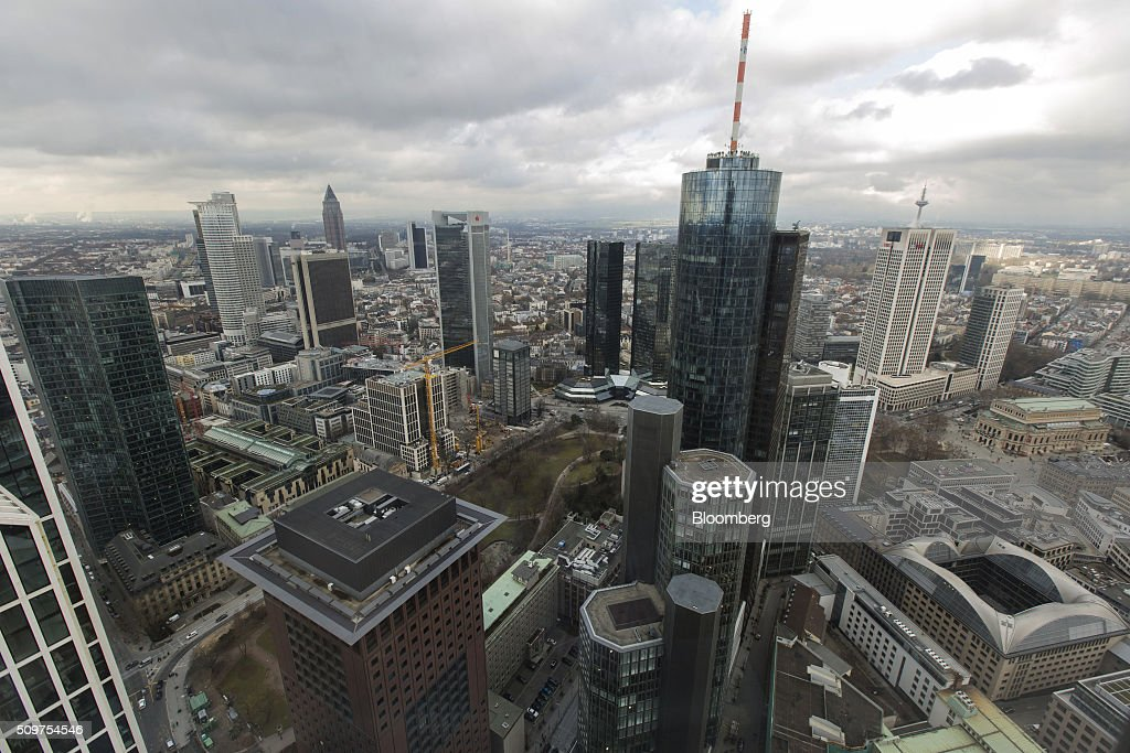 Skyscrapers tower over other buildings in Frankfurt's financial district, as seen from the headquarters of Commerzbank AG in Frankfurt, Germany on Friday, Feb. 12, 2016. Commerzbank jumped the most in more than two years after fourth-quarter profit beat analyst estimates, as the lender said it plans to wind down its unit for soured loans at a faster pace than forecast. Photographer: Martin Leissl/Bloomberg via Getty Images