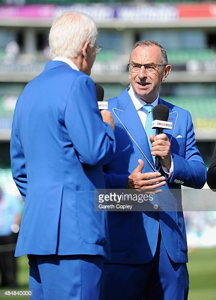 Skysports David Lloyd speaks to David Gower wearing a blue Cricket United jacket ahead of day three of the 5th Investec Ashes Test match between...