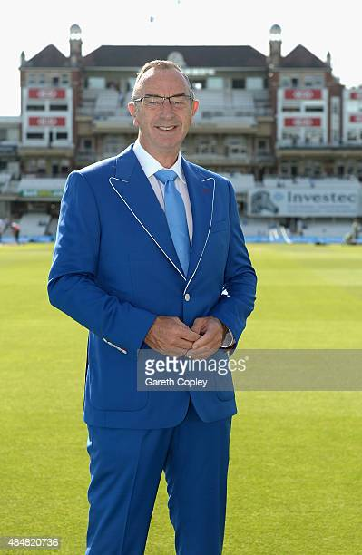 Skysports David Lloyd wears a blue Cricket United jacket ahead of day three of the 5th Investec Ashes Test match between England and Australia at The...