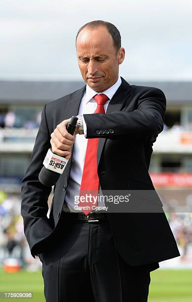Skysports presenter Nasser Hussain during day one of 4th Investec Ashes Test match between England and Australia at Emirates Durham ICG on August 09...