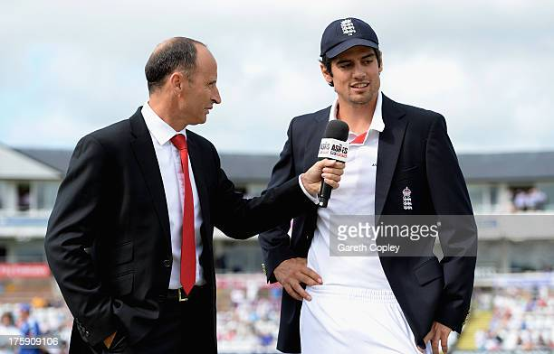Skysports presenter Nasser Hussain interviews England captain Alastair Cook during day one of 4th Investec Ashes Test match between England and...