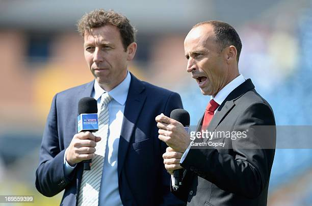 Skysports presenters Michael Atherton and Nasser Hussain ahead of day four of 2nd Investec Test match between England and New Zealand at Headingley...