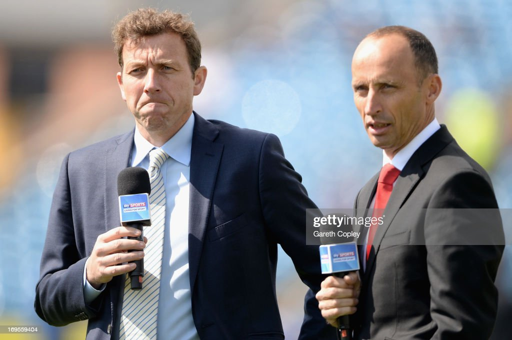 Skysports presenters Michael Atherton and <a gi-track='captionPersonalityLinkClicked' href=/galleries/search?phrase=Nasser+Hussain&family=editorial&specificpeople=171724 ng-click='$event.stopPropagation()'>Nasser Hussain</a> ahead of day four of 2nd Investec Test match between England and New Zealand at Headingley on May 27, 2013 in Leeds, England.