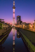 skytree reflected on the river