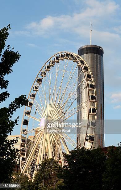 Skyview Atlanta Ferris Wheel and Westin Peachtree Atlanta Hotel on July 17 2015 in Atlanta Georgia