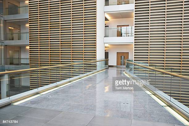 Skywalk in modern office building