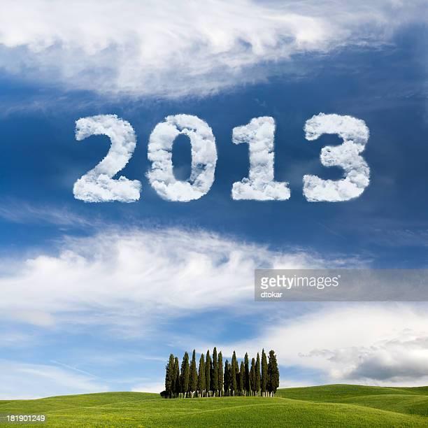 Pubblicità aerea con 2013 anno su the Tuscany visualizzazione orizzontale