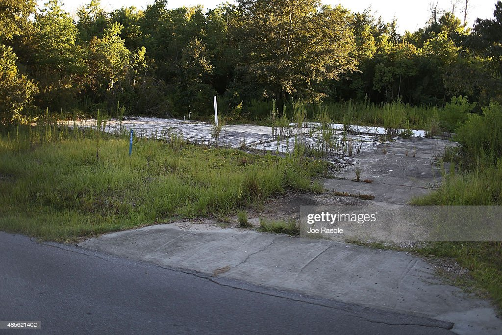A slab where a home once stood is seen 10 years after Hurricane Katrina destroyed the house on August 28 2015 in Waveland Mississippi The tenth...