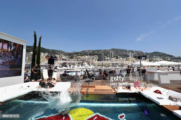 A slack line performance on the Red Bull Racing Energy Station during the Monaco Formula One Grand Prix at Circuit de Monaco on May 28 2017 in...