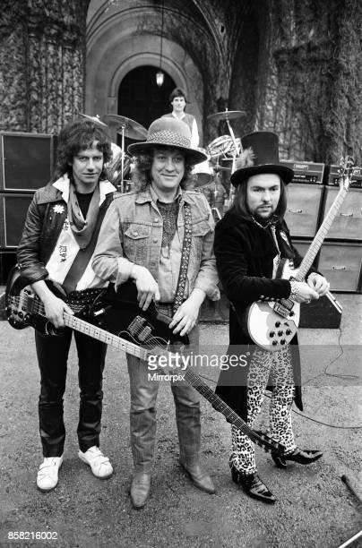 Slade filming a new video at Eastnor Castle near Ledbury 26th January 1984