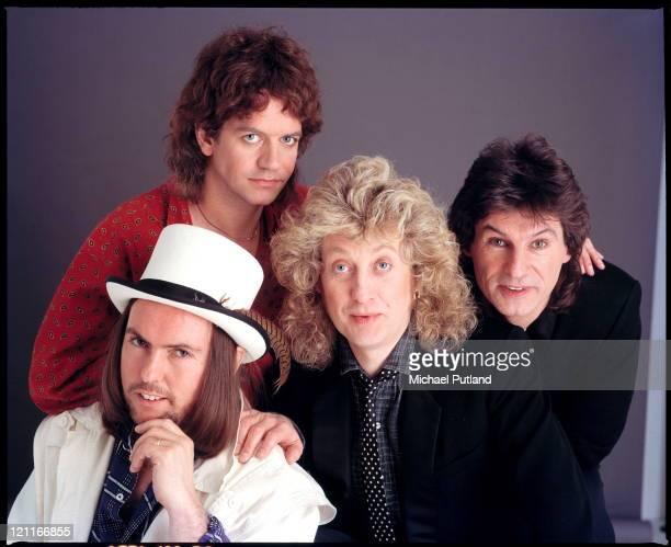 Slade studio group portrait London December 1985 Dave Hill Jim Lea Noddy Holder Don Powell