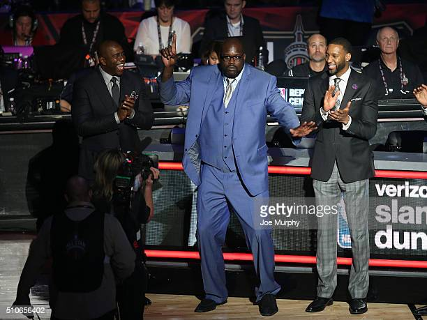 Slam Dunk judge Shaquille O'Neal shares a dance with the fans during the Verizon Slam Dunk Contest as part of NBA AllStar 2016 on February 13 2016 at...