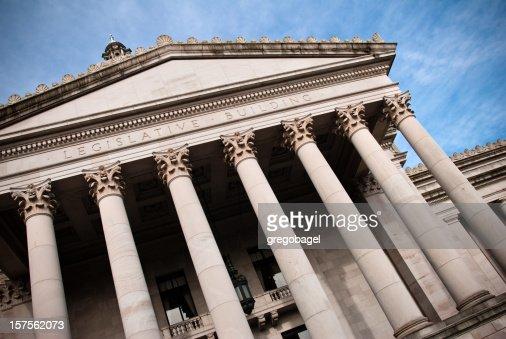 Slanted upward view of Washington state capitol building