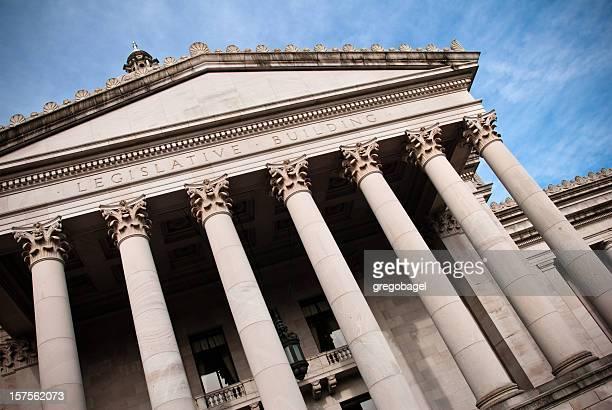 Inclinado hacia arriba vista del edificio del Capitolio del Estado de Washington