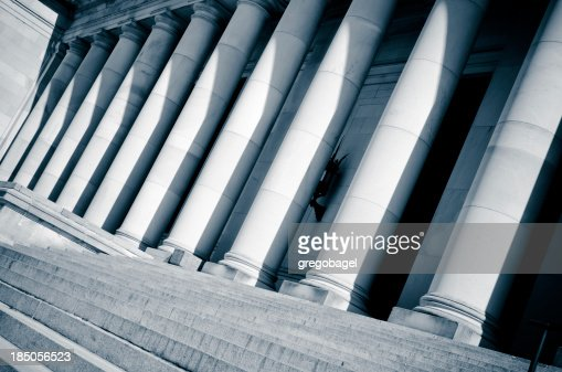 Slanted view of columns at Washington state capitol building