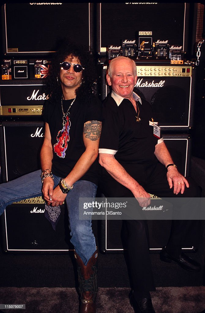 Slash and Jim Marshall at the NAMM show during NAMM Music Show National Association of Musicians Merchants at Los Angeles in Los Angeles California...