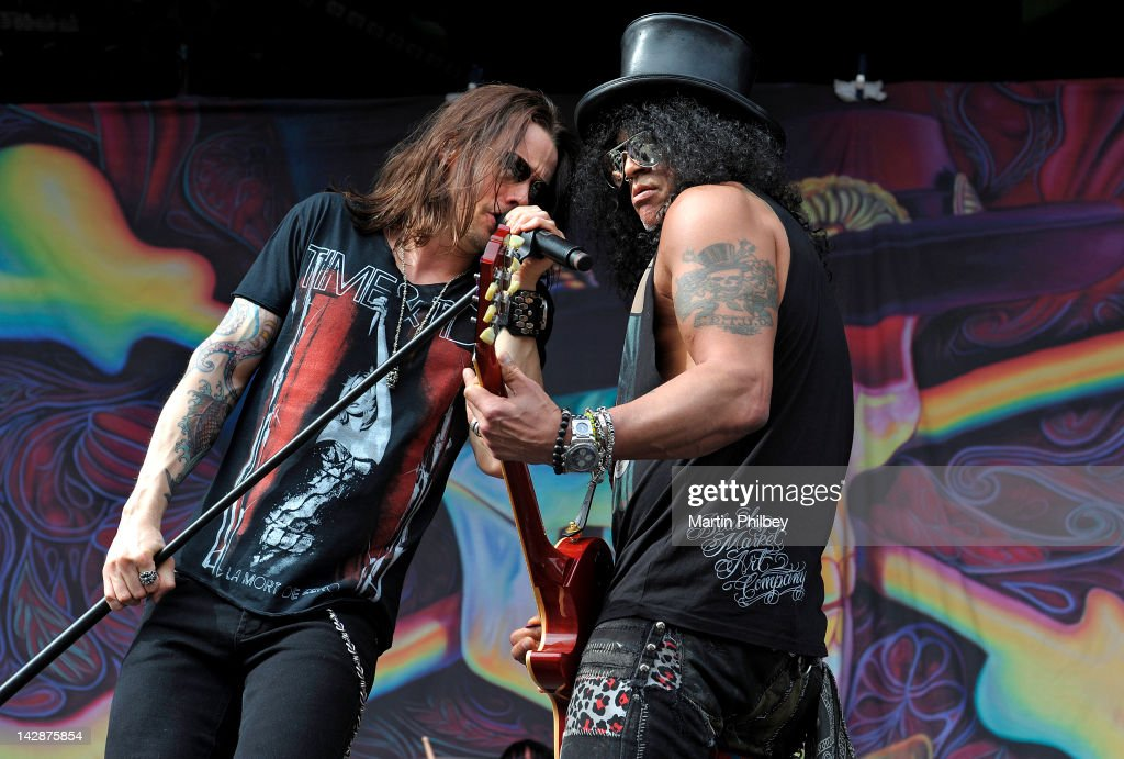 Slash and Myles Kennedy perform on stage at The Soundwave Music Festival at Olympic Park on 27th February 2011 in Sydney Australia