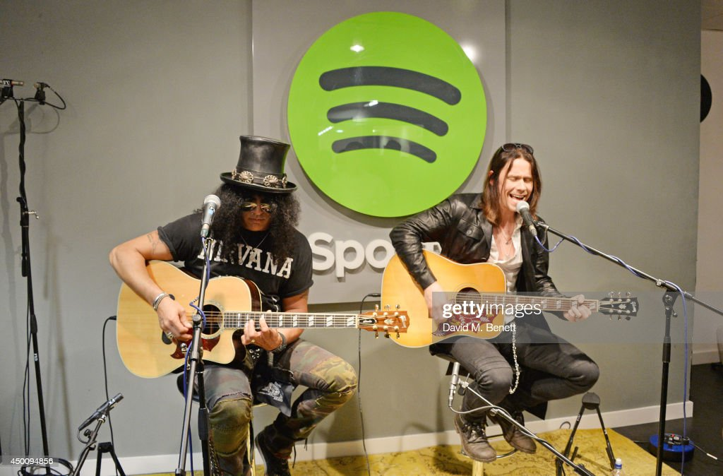 Slash and Myles Kennedy play a Spotify Session at their London office on June 3 2014 in London England