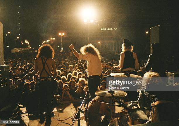 Slash Axl Rose Duff McKagan Steven Adler and Izzy Stradlin of the rock group 'Guns n' Roses' perform at the LA Street Scene on September 28 1985 in...