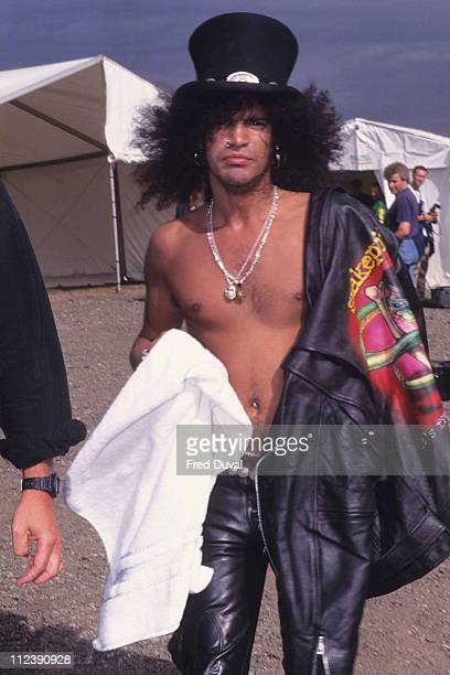 Slash from Guns 'n' Roses during Slash at The Monsters of Rock Festival at Castle Donington 1995 at Castle Donington in Donington Great Britain